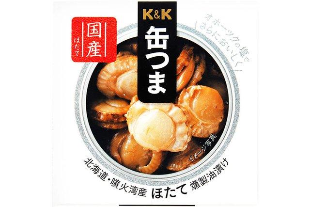 缶つま 北海道・噴火湾産ほたて燻製油漬け