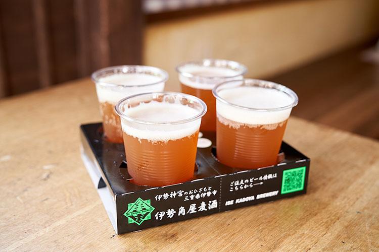 地ビール飲み比べセットは6種の中から好みの味を4つチョイス。